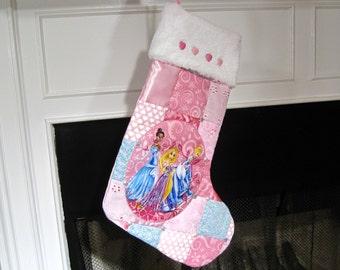 Disney Princess Patchwork Quilt Christmas Stocking Cinderella Stocking Rapunzel Stocking Tiana Stocking Personalized Stocking Girl Stocking