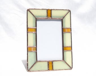 Stained Glass Picture Frame Sunshine Frame 4 x 6 Stained Glass Frame 4 x 6 Yellow Photo Frame Portrait Frame Landscape Frame Glass Frame