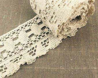 Vintage Linen Lace, Bobbin Lace, Ecru Vintage Lace, 1950s Lace, UK Seller
