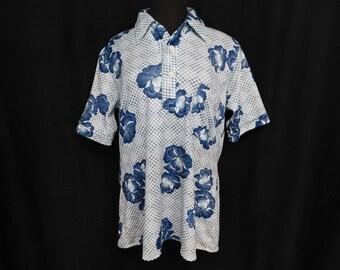 Vintage 70s Henley Button Shirt Blue Hawaiian Hibiscus Geometric Surfer Hipster Retro M Medium L Large