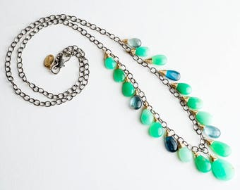 Calista Necklace w/ Chrysoprase, Moss Aquamarine, Kyanite