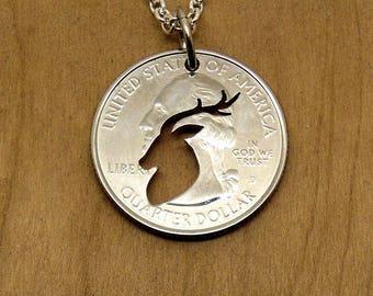 Deer Necklace, Deer Jewelry, Deer Head Necklace, Deer Hunter Necklace, Deer Head Pendant, Buck Jewelry, Hunting Jewelry, Mens Necklace