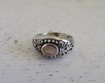 Sterling Silver and Pink Mother of Pearl Ring