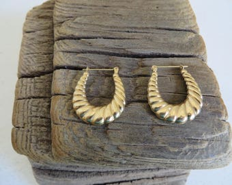 Pair of 14K Gold Hoop Earrings