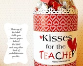 Valentine Teacher Appreciation / Hershey Kisses / Chocolates for Teacher / Valentine's Day Tags and Labels / Thanks Teacher / bottle Label