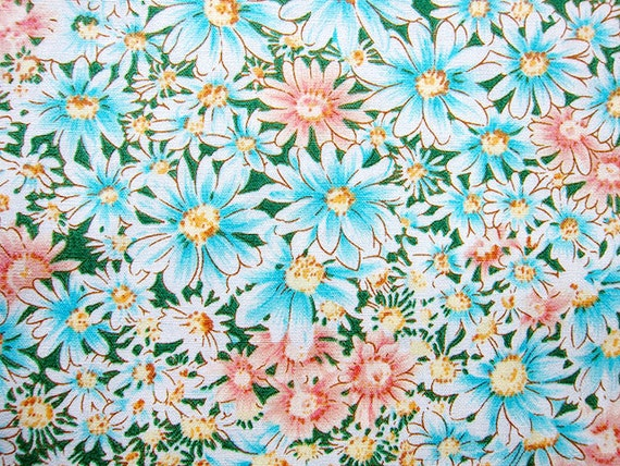 Japanese Fabric - Floral Fabric By The Yard - Daisies - Cotton Fabric - Half Yard