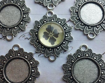Antique Silver Blank Connector Trays with Matching 16mm Glass Cabochons for Pendants Bracelets