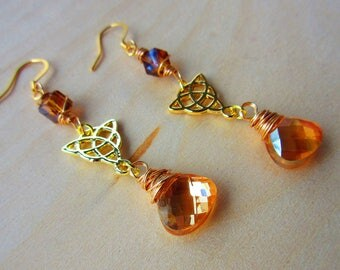 Gold Wire Wrapped Celtic Briolette Earrings. Irish. Wire Wrapped. Swarovski Crystal Jewelry. Celtic Jewelry.