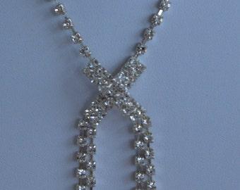 On Sale Pretty Vintage Rhinestone Necklace, Adjustable