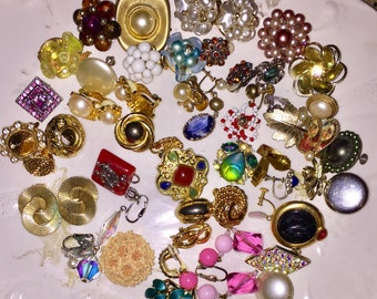 Single clip on earrings lot assemblage crafting inspiration