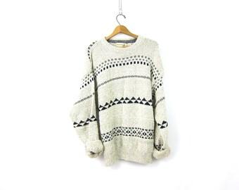 Long Cotton Sweater 90s Pullover Gray Blue Knit Crewneck Sweater Preppy Prep Vintage Boyfriend Sweater Unisex Medium Large