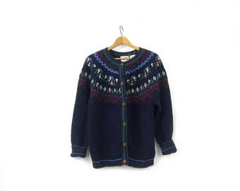 Vintage Fair Isle Button Up Sweater Chunky Knit Cardigan Sweater Navy Blue Raglan Boho Preppy Cottage Wool Cotton Large