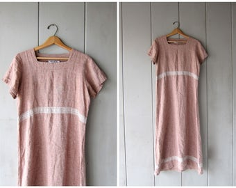 Long Linen Dress Light Brown Maxi Dress Short Sleeve Frock Simple Minimal Loose Fit Shirt Dress Vintage 90s Dress Womens Small Medium