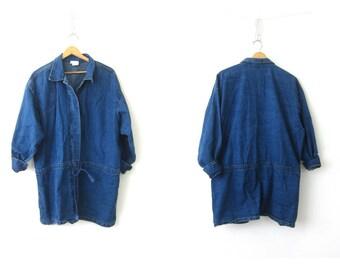 Vintage 90s Parka Coat Blue Jean Jacket Cotton Oversized Long Jacket Spring Drawstring Jacket Womens Plus Size 2X XXL