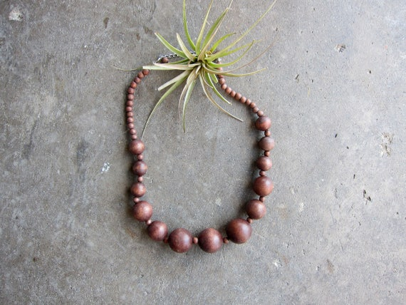 Short Necklace Fat Wooden Beads Statement Piece Necklace Wood Necklace Vintage Jewelry Boho Resort Necklace 80s Jewelry