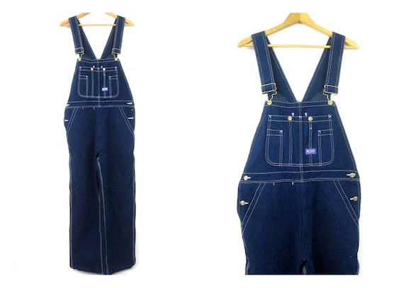 Vintage Dark Wash Jean Bib Overalls Denim BIG SMITH Carpenter Engineer Work Pants Farmer Bibs workwear Jeans Men's size 32 x 34