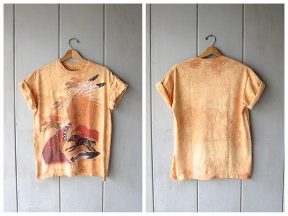 Vintage Native American & Horse Tshirt 90s Tie Dye Yellow Ochre Horses Tee Shirt Grunge Novelty Shirt Urban Boho Hipster DES Women Small