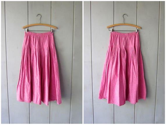 Vintage Basic Pink Cotton Skirt Long 80s Midi Skirt Elastic High Waist Skirt Preppy Minimal Summer Spring Skirt Womens Small Medium