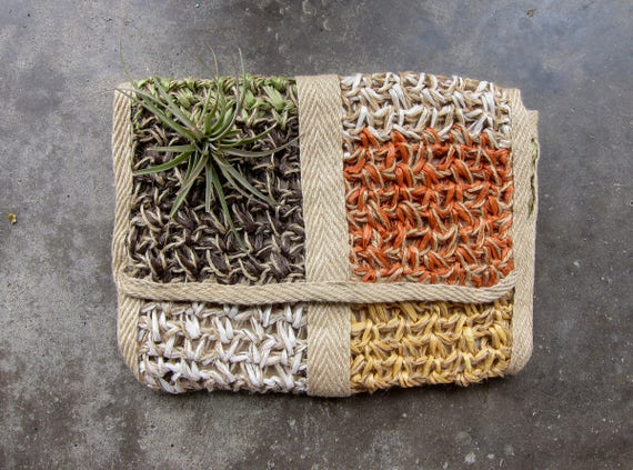 Natural Fabric clutch Earthy fold over Raffia & Twine handbag 70s Delill boho purse bohemian hippie Envelope hipster bag DELLS