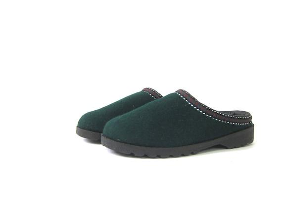 Vintage Green Felted WOOL Slippers Slip On Slides Shoes Minimal Loafers Vintage Dark Green Slip On Shoes DES Boho Chic Womens Size 7