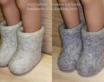 "5 Russian valenki, winter wool felt boots for doll 5cm, 2"" doll boots"