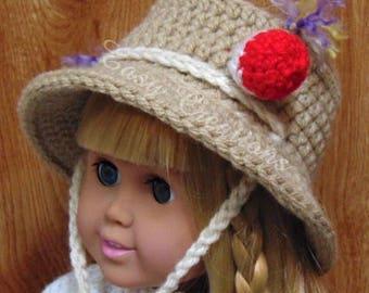 CROCHET PATTERN 18in Doll Bucket Fishing Hat, brimmed hat, sun hat, doll hat