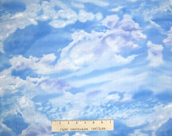 Nature Fabric - White Clouds on Blue Sky Scape - Timeless Treasures YARD