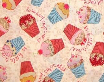 Cupcakes Springs Dessert Cake Beige - Timeless Treasures Cotton Fabric YARDS