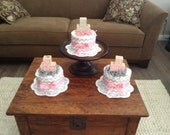 Chevron Stripes pink and grey Diaper Cake baby shower centerpieces other colors and sizes too