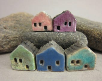 5 Raku House Beads...Pink Purple Copper Dark Blue Lagune