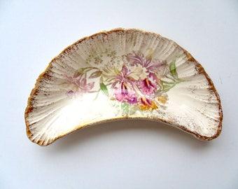 Bone side dish, Franz Anton Mehlem Crescent dish, Iris Pattern Bone dish.