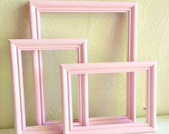 Set of Matching Pink Wooden Picture Frames 8x10 and 5x7 Painted Wood 3 Three