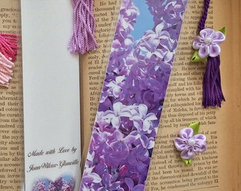 Blooming Lilacs Spring Floral Photo Bookmark w/ Lilac & Pearl Ribbon Flower Fine Art Photography Laminated Handmade Bookmark