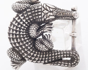Barry Kieselstein Cord Alligator Belt Buckle Sterling Silver