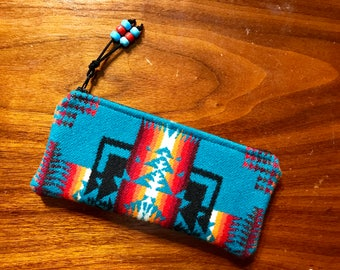 Wool Sunglasses Case / Glasses Case / Tampon Case / Zippered Pouch Southwestern Tribal Handcrafted Using Wool from Pendleton Woolen Mill