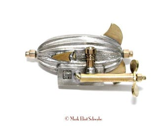 Halbard Brothers Airship brooch pin - It is interactive - the propeller spins! - a great gift for the Steampunk or Sci Fi fan on your list