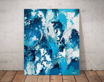 Blue White Painting Abstract Art Canvas Wall Art, Modern Art Acrylic Pouring Fluid Painting Bedroom Decor