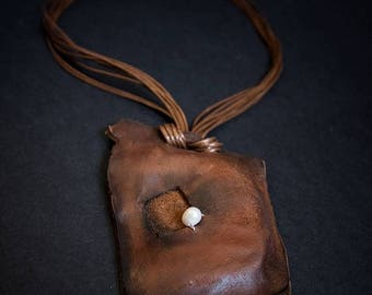 40% OFF SALE Brown rustic leather necklace with pearls Pendant Designer jewelry Elegant necklace
