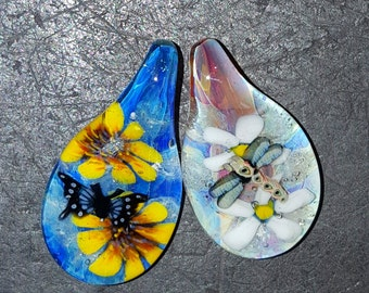 memorial glass for pet ashes  keepsake heirloom handmade custom butterfly or dragonfly cremation jewelry ash pendant made by Joe Crisanti