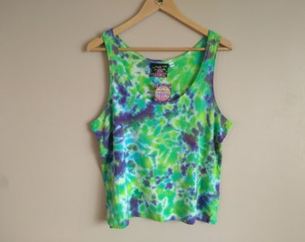 XL WOMEN'S Tie Dye Tank Top in blue, green, purple crumpled style. Bamboo jersey
