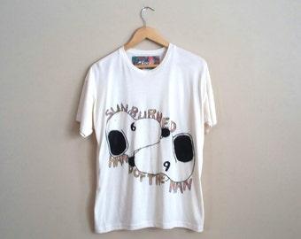 Sunburned Hand of the Man 69 Snoopy mash up hand painted original artwork art band t-shirt medium