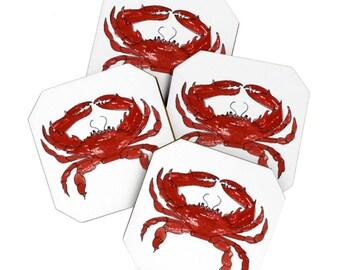 Red Crab Coaster Set