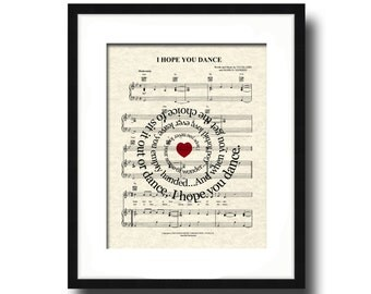 I Hope You Dance Art Print, Spiral Song Lyric Art Print, Sheet Music Art, Dancing Art, Inspirational Art, Art for Girls, Art for Dancers