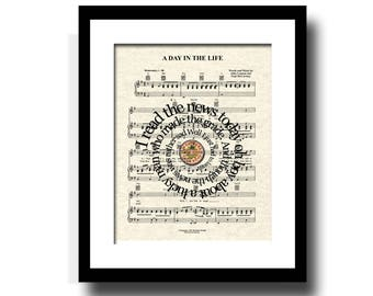 The Beatles A Day In The Life Song Lyric Sheet Music Art Print, The Beatles Song Music Art Print, Sgt. Pepper, Spiral Lyrics Art print