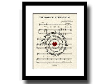 The Long and Winding Road - The Beatles - Spiral Song Lyric Sheet Music Art Print, Music art, Custom wedding and anniversary, name and date