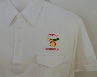 Vintage TRIPOLI SHRINE MILWAUKEE polo shirt xl 1970's 80's