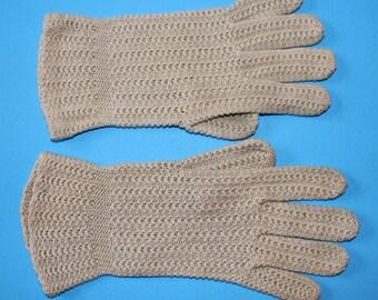 Vintage Women's Knit Gloves, Tan, 1960's Era