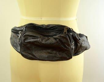 Vintage SHINY black pleather fanny pack sack