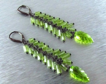 25OFF Long Peridot With Oxidized Sterling Silver Earrings