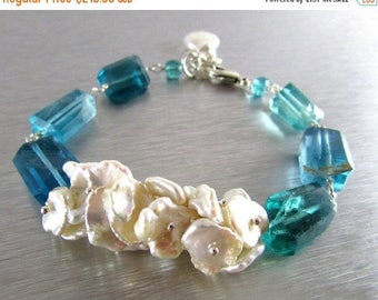 25 % OFF Keishi Pearl and Fluorite Nugget Sterling Silver Bracelet